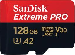 Karta SanDisk MicroSDXC Extreme Pro XC 128GB, 170MB/s, C10 UHS-I U3, V30, A2 + SD ADAP. + Rescue Pro Deluxe (SDSQXCY-128G-GN6MA)