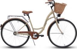 Goetze Rower miejski Classic 28″ trzybiegowy cappuccino z wiklinowym koszem