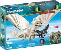 Playmobil DRAGONS. Biała Furia z małym smokiem i dziećmi (70038)