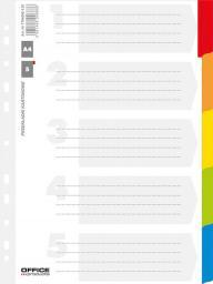 Office Products Przekładki kartonowe A4, 227x297, laminowane, mix, 5 kart (21070511-99)