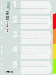 Office Products Przekładki kartonowe A4, 227x297, mix, 5 kart (21070521-99)