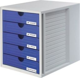 HAN ZESTAW 5 SZUFLADEK SYSTEM-BOX HAN A4 POLISTYREN SZARO-NIEBIESKI - HN145014-10