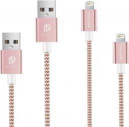 Kabel USB DuxDucis   2-PACK Lightning, 100cm + 20cm   Rose gold