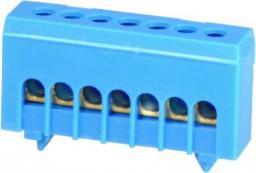 Simet Zacisk przyłącz na TS35 izolowany neutralny N 7-polowy 7x16mm2 niebieski 870N-7FS (89820003)