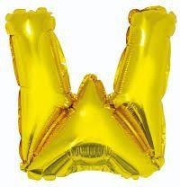 """GoDan Balon foliowy """"litera W"""" - złota 35cm (FG-L35ZW)"""