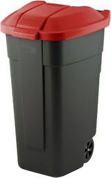 Curver Pojemnik do segregacji odpadów Curver110L Czarny z czerwoną pokrywą Na kółkach