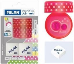 Milan Temperówka Duet róż+ 2 gumki