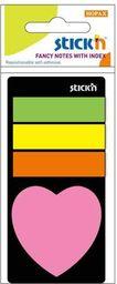 Stickn Zakładki indeksujące neon + notes serduszko