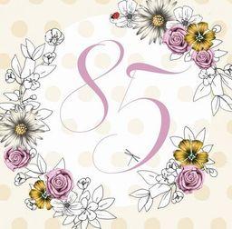 Clear Creation Karnet Swarovski kwadrat Urodziny 85 kwiaty