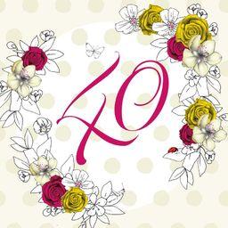 Clear Creation Karnet Swarovski kwadrat Urodziny 40 kwiaty