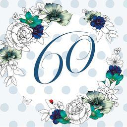 Clear Creation Karnet Swarovski kwadrat Urodziny 60 kwiaty