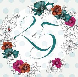 Clear Creation Karnet Swarovski kwadrat Urodziny 25 kwiaty