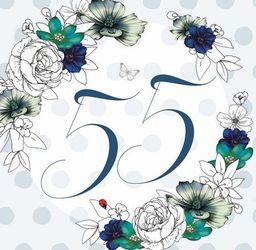 Clear Creation Karnet Swarovski kwadrat Urodziny 55 kwiaty