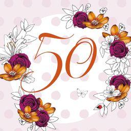 Clear Creation Karnet Swarovski kwadrat Urodziny 50 kwiaty
