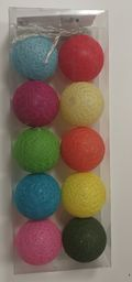 Lampki choinkowe KW Office Lampki lampiony Cotton Balls mix 10 kolorów w pudełku 10 szt