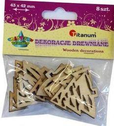 Titanum Dekoracje Drewniane Choinki 43x41mm 8szt. Kolor Drewna (WY066)