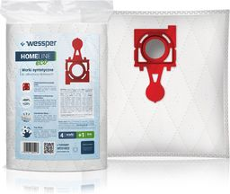Worek do odkurzacza Wessper do Zelmer Jupiter ZMB03K, IZ-49.4220PF, 49.4220, Safbag Czerwony - syntetyczne 4 sztuki + filtr