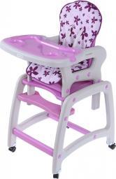 Ecotoys Krzesełko do karmienia 2w1 ze stoliczkiem fioletowe