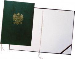 Warta Okładka na dyplom z orłem zielona