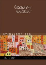 Blok biurowy HAPPY COLOR rysunkowy Eco A3, 25 ark, 150g