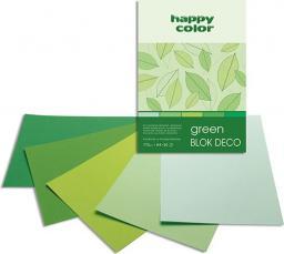 Blok biurowy Happy Color Deco Green A5, 20ark, 170g, 5kol (37171520-052)