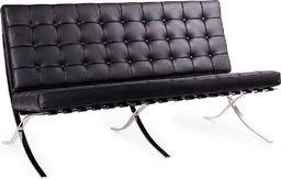 King Home Sofa BARCELON PRESTIGE PLUS czarna - skóra, chrom