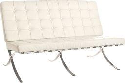 King Home Sofa BARCELON dwuosobowa biała - skóra, chrom
