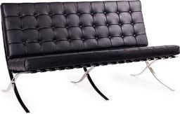 King Home Sofa BARCELON czarna - skóra, chrom