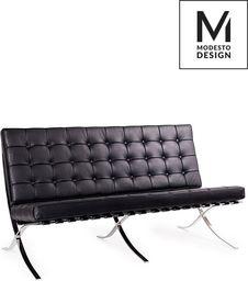 Modesto Design MODESTO Sofa BARCELON czarna - ekoskóra, chrom