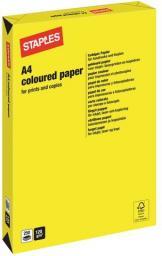 Papier Staples Papier kolorowy INTENSIVE COLOURS A4 120G, żółty/yellow, ryza 250 arkuszy (7247306)