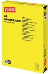 Papier Staples Papier kolorowy INTENSIVE COLOURS A4 160G, żółty/yellow, ryza 250 arkuszy (7325528)