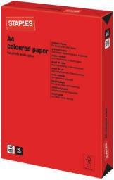 Papier Staples Papier kolorowy INTENSIVE COLOURS A4 80G, czerwony red, ryza 500 arkuszy (7329465)