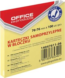 Office Products Pbs notes samoprz.office 76x76mm .żółty 14047611-06 100k
