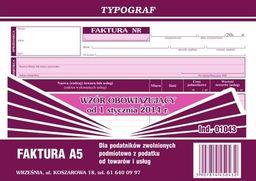 Typograf Faktura A5 poziom (s) dla podatników zwolnionych podmiotowo z podatku od towaru (01043)