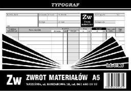 Typograf Druki samokopiujące zw-zwrot materiału A-5 (s) (01065)