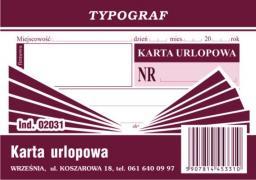 Typograf Karta urlopowa A7 (02031)