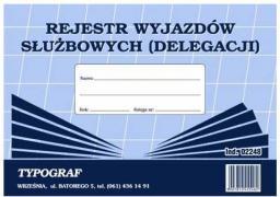 Typograf Druki samokopiujące rejestr wyjazdów służbowych A5 (02248)