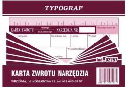 Typograf Druki samokopiujące karta zwrotu narzędzia, A-6 (02257)