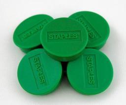 Flipchart Staples Magnesy do tablic magnetycznych 30mm, zielony, opakowanie 10 sztuk (C61103)