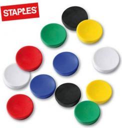 Flipchart Staples Magnesy do tablic magnetycznych 30mm, mix kolorów, opakowanie 10 sztuk (C61109)