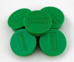 Flipchart Staples Magnesy do tablic magnetycznych 25mm, zielony, opakowanie 10 sztuk (C61053)