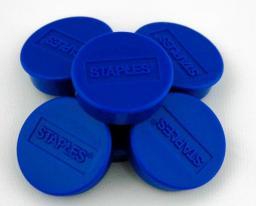 Flipchart Staples Magnesy do tablic magnetycznych 25mm, niebieski, opakowanie 10 sztuk (C61051)