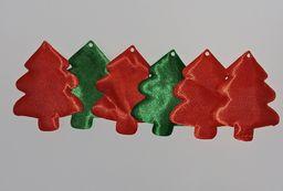 Titanum Choinki materiałowe: zielone i czerwone 5.5x6.5cm