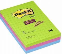 Post-it Bloczek super sticky 660-3 ssuc mix kolorów 101x152mm 3x90 kartek (3M0688)