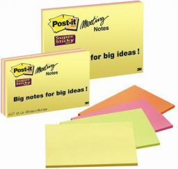 Post-it Bloczek SUPER STICKY MEETING NOTES 6845-SSP, 200 x149mm, 4 kolory (3M0261)