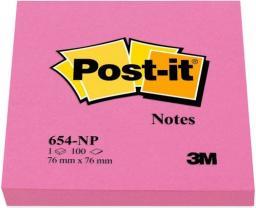 Post-it Bloczek neonowy 654N, 76x76mm, jaskrawy różowy, 100 kartek (3M0305)