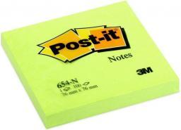 Post-it Bloczek neonowy 654N, 76x76mm, jaskrawy zielony, 100 kartek (3M0306)