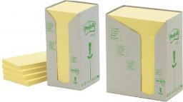 Post-it Bloczek samoprzylepny RECYCLED 653 38x51mm, żółty, opakowanie 3 sztuki (3M0971)