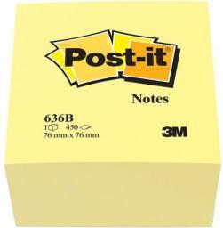 Post-it Bloczki samoprzylepne klasyczne 636B, kostka 76x76mm, 450 kartek, żółty (3M0311)
