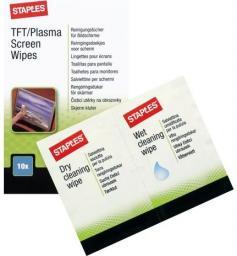 Staples Chusteczki nawilżane i suche do czyszczenia ekranów TFT/LCD 20 szt. (C31788)